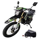 X-Pro Hawk DLX 250 EFI Fuel Injection 250cc Endure Dirt Bike Motorcycle Bike Hawk Deluxe Dirt Bike Street Bike Motorcycle with Motorcycle Cover, Bluetooth Speaker and Phone Bracket(Green)