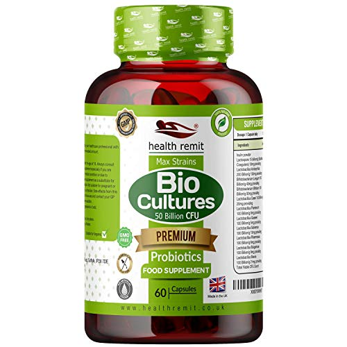 Health Remit's Probiotics Complex | Multi Strains Formula with Prebiotic Fibre | 50 Billion CFU per Capsule |Vegan & Non-GMO | Made in UK