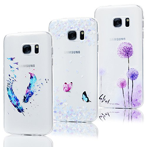 Lot de 3 KASOS Coque pour Samsung Galaxy S7, Housse Case Bumper Étui Coque de Protection en TPU Souple de Couleur Silicone Exquis Mince Léger Modèle Coloré Housse - Plume,Papillon,Pissenlit,Violet