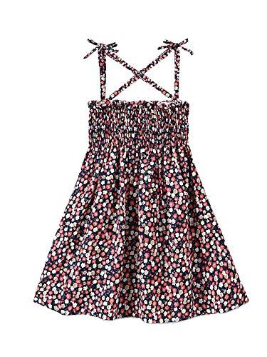 Geagodelia Vestido de tirantes con cordones para nia de moda a rayas, floral plisado de cintura alta de una lnea de princesa vestido