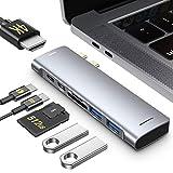 RAYROW USB C Hub MacBook Pro Air,Adaptador Tipo C Hub HDMI, 7 en 2 USB C a HDMI, Thunderbolt 3, 2 USB 3.0, Lector de Tarjetas TF/SD, Adaptador USB C de Aluminio para MacBook Pro/Air 2020-2018