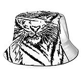 Gorra de Pescador Unisex boceto de un Tigre posando Ojos Afilados Especie de Gato más Grande Rayas Verticales oscuras Arte Verano Viajes Sombrero de Playa