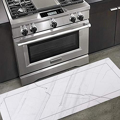 Carvapet Comfort Anti-Fatigue Kitchen Standing Desk Mat Waterproof Decorative Ergonomic Floor Pad Kitchen Rug, White Marble Design 18'x47'