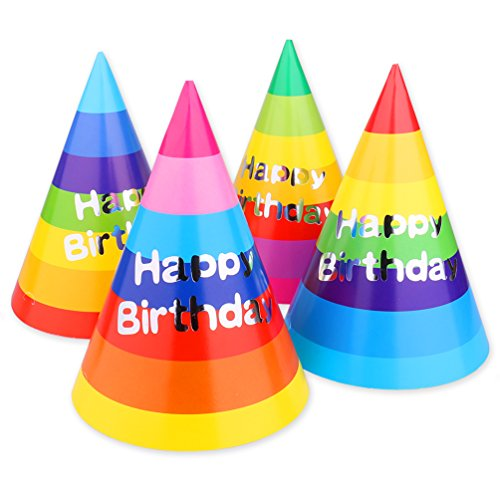 Read About Birthday Party Cone Hats, Rainbow 12 ct