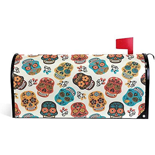 Magnetische Mailbox Cover Grüße Dekorative Mailbox Post Wrap Standard / 21x18 in Zaun Dia De Los Muertos Tag des toten Blumenschädels