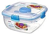 Sistema to go Salat Container mit Dressing und Besteck, transparent/blau, 37.1oz