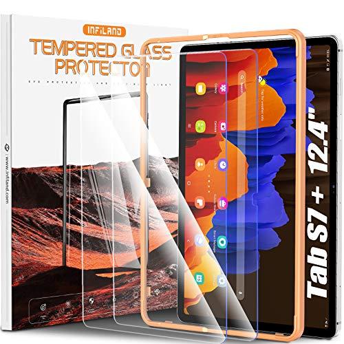 INFILAND Protector de Pantalla para Samsung Galaxy Tab S7 Plus 2020, para Galaxy Tab S7+ (SM-T970/T975/T976) 12.4 Protector Pantalla, [Cristal Templado] [Bloquea Excesivas la luz Azul Dañina], 2 Pack