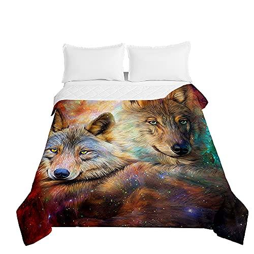 Chickwin Tagesdecken Bettüberwurf, 3D Wolf Drucken Sommer Tagesdecke mit Prägemuster Wohndecke aus Mikrofaser Bettdecke für Einzelbett Doppelbett oder Kinder (Sternenklarer Himmel,200x230cm)