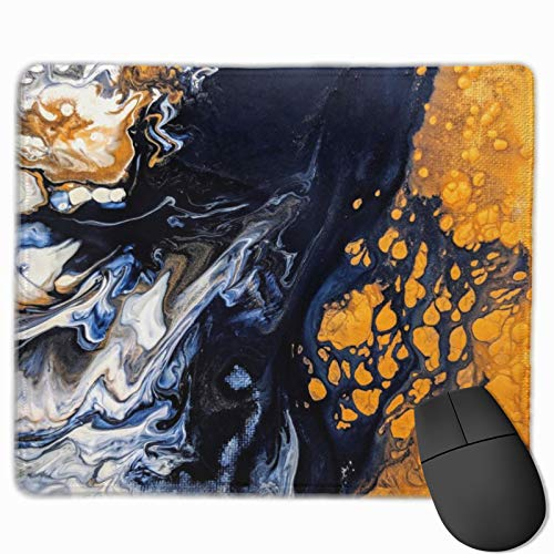 Abstract Yellow Black Marbled Gaming Mouse Pad Custom Rectangle Mousepad Computer Gaming Mouse Mat Non-Slip Rubber for Pc and Laptop