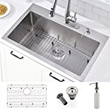 33-inch Drop In Kitchen Sink -VOKIM 33 Inch 16 Gauge Commercial Large Topmount Drop-in Single Bowl Basin Handmade Stainless Steel Kitchen Sink, With Dish Grid and Basket Strainer ,Soap Dispenser…