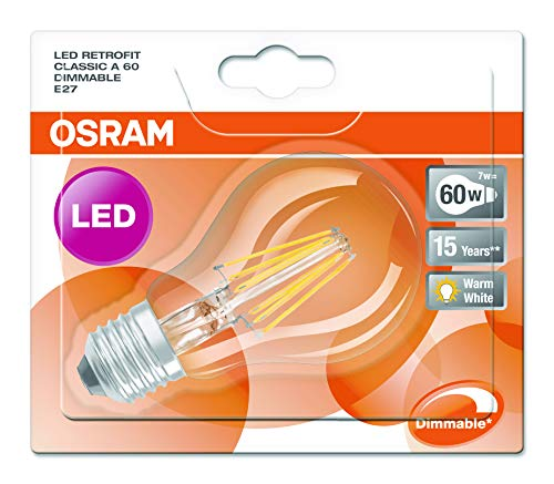 Osram LED Superstar Classic A, in Kolbenform mit E27-Sockel, Dimmbar, Ersetzt 60 Watt, Filamentstil Klar, Warmweiß – 2700 Kelvin, 1er-Pack - 5
