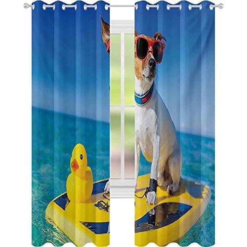 Cortinas opacas para perro con gafas de sol y pato de goma en tabla de surf en Ocean Shore Fun Summer, 52 x L84 cortinas opacas para habitación de niños, multicolor
