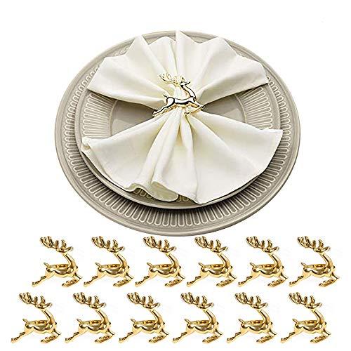 HSCC666 - Anillos para servilleta con diseño de Hojas, para decoración de Mesa, Banquetes de Boda, cenas diarias, Fiestas