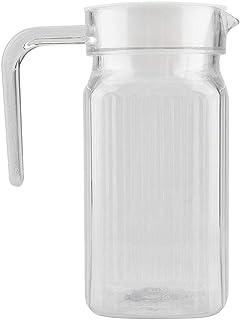 ジュースジャグ、500ml/800ml/1100ml/1800mlアクリル透明ジュースボトルストライプウォーターアイスコールドジュースジャグ、蓋付きバー用(500ML)