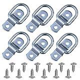 DEDC 6 anillos de amarre resistentes con anillo en D, ganchos de anclaje de 0,63 cm, anillos en D para remolques, camiones, caravanas, furgonetas, ATV, SUV, barcos, motocicletas.