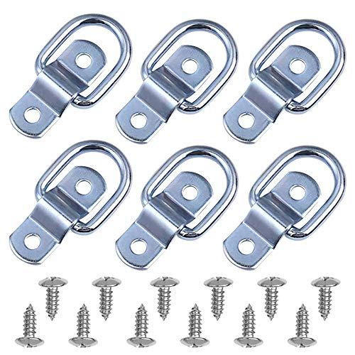 DEDC 6 anillos de amarre resistentes con anillo en D, ganchos de...