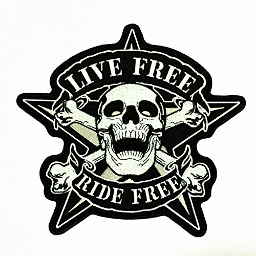 Parche Portal Live Free Ride Free Skull Crossbone Star 8'x 9' Gran bordado Punk Rider Chopper motocicleta Biker coser hierro bordado de Applique ideal para disfraz de chaqueta chaleco Mochilas