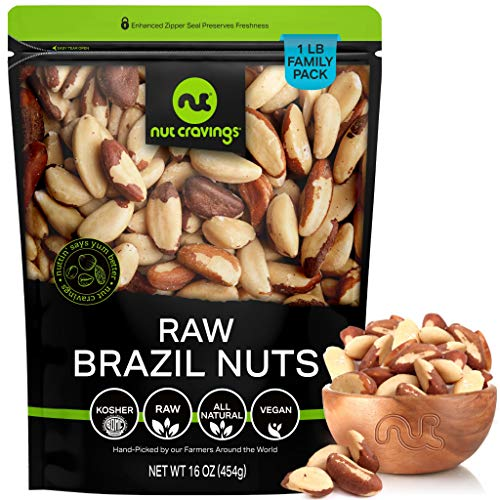 Raw Brazil Nuts - No Shell, Whole, Superior to Organic (16oz - 1 LB) Packed Fresh in Resealable Bag - Trail Mix Snack - Healthy Protein Food, All Natural, Keto Friendly, Vegan, Kosher