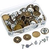 40 Set Botón Jeans Tachuela Botón Kit Reemplazo de Metal con Caja de Almacenamiento, 2 Estilos, Bronce