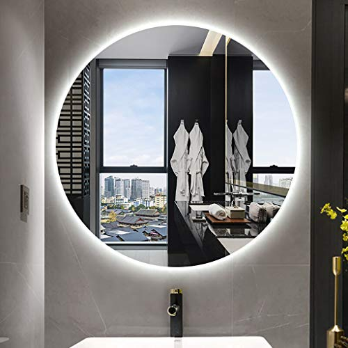 YiYi Bathroom mirror Espejo Redondo para Baño con Luz LED Blanca/Cálida, Espejo de Maquillaje, Diseño de Ahorro de Espacio Montado en la Pared, Tamaño: 60/70/80/90cm