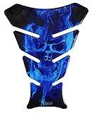 Paraserbatoio 3D – Motivo teschio fantasma blu/fiamme blu – Universale per Yamaha, Honda, Ducati, Suzuki, Kawasaki, KTM, BMW, Triumph e serbatoi Aprilia
