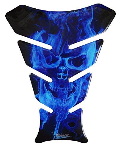Tankpad 3D - 500067 - Ghost Blue Totenkopf-Motiv/Flammen Blau - universell für Yamaha, Honda, Ducati, Suzuki, Kawasaki, KTM, BMW, Triumph und Aprilia Tanks