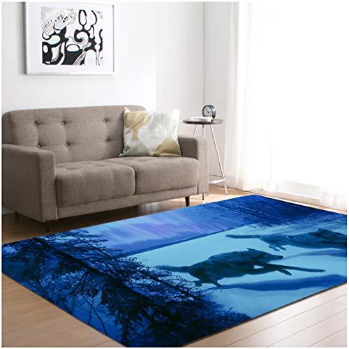 TSWCBYY Wohnzimmer Teppich, Wolf Muster Wohnzimmer Teppich Schlafzimmer Esstisch Matte, Polyester, Leicht Zu Reinigen / 121,9 * 160 cm,E