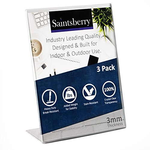 TRIPLE STRENGTH Acrylic Sign Holder 8.5 x 11 inches (Pack of 3) 3mm Thick Break Resistant Heavy Duty Hard Plastic Slanted Back Design, Perfect for Indoor and Outdoor Use. Saintsberry