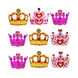 12Pcs EVA Kids Crown Hat Niños Hair Hoops Etapa Diadema Colorido Headwrap corona accesorios para el cabello Color aleatorio