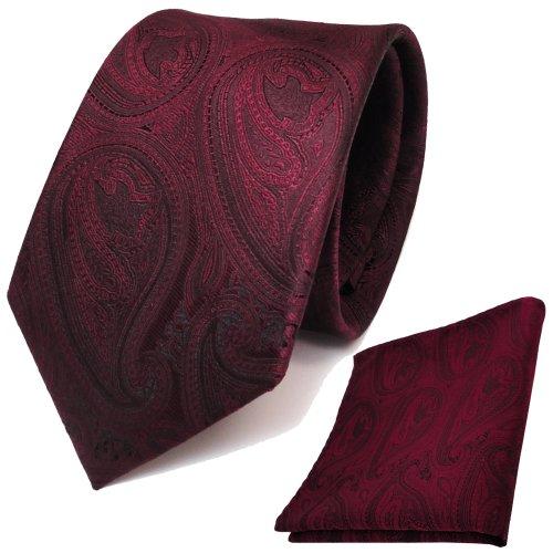 TigerTie Designer Krawatte + Einstecktuch in rot weinrot schwarz paisley Muster