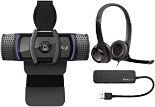 Logitech C920S Pro HD Webcam with H390 USB Headset with Noise-Canceling Mic and Knox Gear 4-Port USB Hub Bundle (3 Items)
