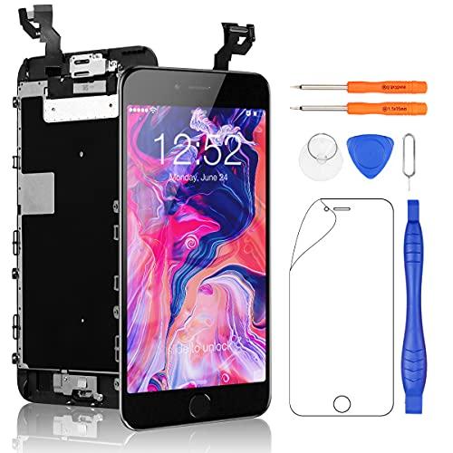 Yodoit Completo Display per iPhone 6s Plus Nero, 5,5'' Schermo Retina LCD Touch Screen Digitizer Parti di Ricambio (con Home Pulsante, Fotocamera, Sensore Flex) Utensili Inclusi