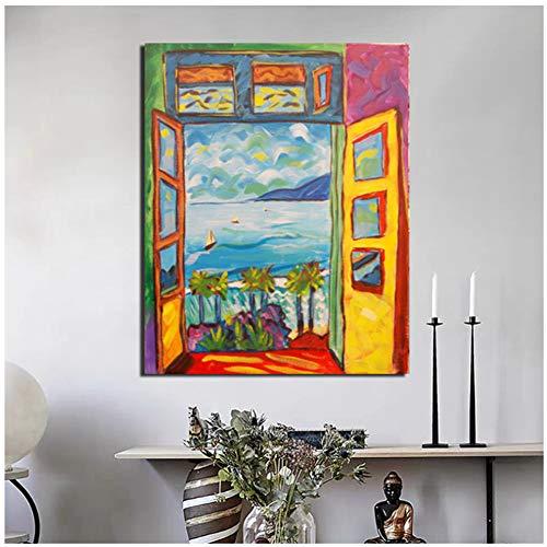 dubdubd Berühmter Maler Matisse Landschaftsblick Außerhalb des Fensters Wandkunst Leinwand Poster Und Drucke Leinwand Dekorativ 20X28 In No Frame