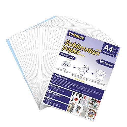 SOMOLUX Papel de sublimación 8.5  x 11  Papel de transferencia de calor compatible con Epson HP Canon Sawgrass impresora de inyección de tinta para camiseta y tazas de cerámica, etc. (200 hojas)