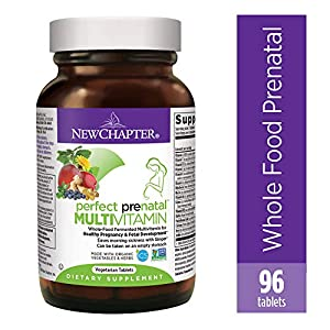 New Chapter Perfect Prenatal Vitamins, 96ct, Organic Prenatal Vitamins, Non-GMO Ingredients for Healthy Baby & Mom – Folate (Methylfolate), Iron, Vitamin D3, Fermented with Whole Foods and Probiotics