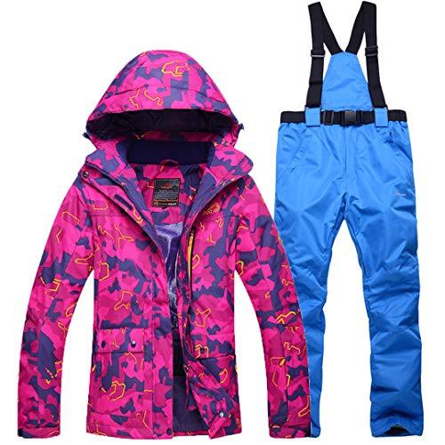 JOSCJKS Femmes Costumes de Neige Sports de Plein air Combinaison de Ski Ensembles Snowboard Vêtements -30 Hiver Robe Camouflage Veste imperméable + Bib Pant Picture Jacket Pant XXL