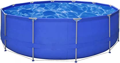 Tidyard Above Ground Swimming Pool Steel Frame Round with Friends or Family Blue 15' x 4'
