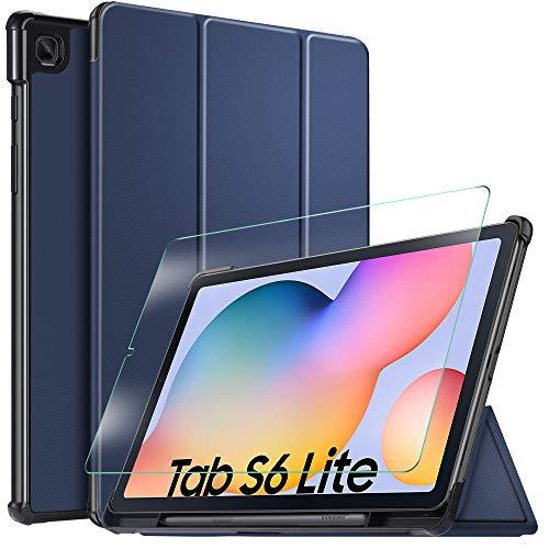 IVSO Custodia Cover per Samsung Galaxy Tab S6 Lite, Slim Smart Protettiva Custodia Cover in Pelle PU con 2.5D, 9H Vetro Temperato, Blu + 1 Pack