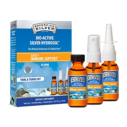 Sovereign Silver Bio-Active Silver Hydrosol for Immune Support - Colloidal Silver - Trial and Travel Kit