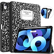 Soke iPad Air 4 Case 10.9 Inch 2020 / iPad Pro 11 2018 with Pencil Holder - [Full Body Protection + Apple Pencil Charge+ Auto Sleep/Wake], Soft TPU Back Cover for New iPad Air 4th Gen,Book Black