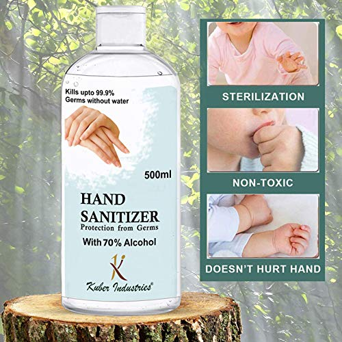 Kuber Industries Aloevera Gel Hand Sanitizer 70% Isopropyl Alcohol Based Gel Instant Germ Protection (Set Of-3,500ml) -CTKTC46675