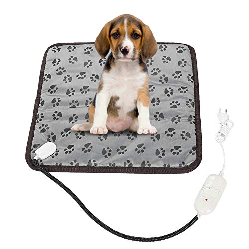 YOUTHINK Haustier Heizkissen, Temperatur Elektrisch Beheizte Haustier Matte, Verstellbarer Hundebettwärmer für Katzen Hunde(EIN)
