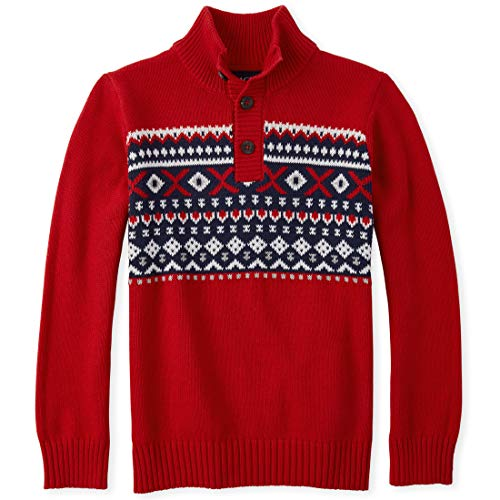 The Children\'s Place Boys\' Big Fairisle Sweater, Classicred, XXL(16)