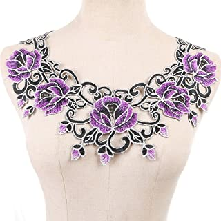 1pc Purple Embroidery Rose Flower Lace Neckline Collar Fabric, DIY Lace Fabrics for Sewing Supplies Crafts
