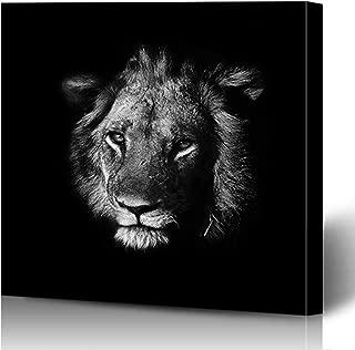 Ahawoso Canvas Prints Wall Art Printing 8x8 Black Monochrome Mammal Lion Animals Wildlife Nature White Africa Head African Artistic Gazelle Painting Artwork Home Living Room Office Bedroom Dorm