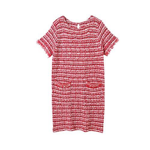 SHUCHANGLE Een rok kleine geurende wind gebreide jurk hoge taille gestreepte rok.