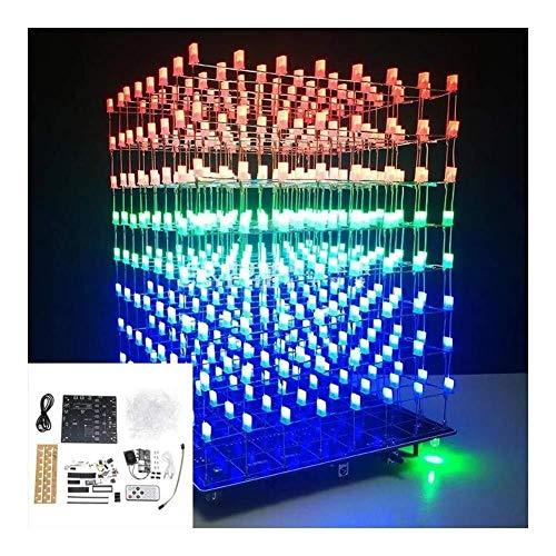 FYYONG Aumentó la versión WIFI DIY APP 8x8x8 luz verde 3D LED Kit Cubo Rojo Azul música MP3 espectro electrónico kit con 3W + 3W del altavoz del amplificador