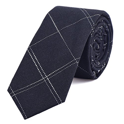 DonDon Corbata de rayas de algodón para hombres de 6 cm - azul noche rayado