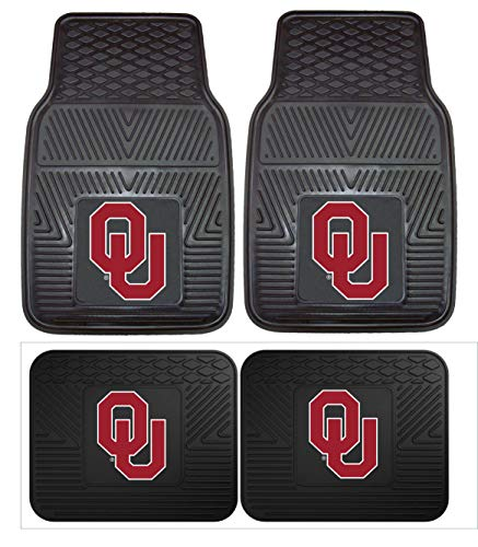 Officially Licensed NCAA Set of Universal Fit Front and Rear Rubber Automotive Floor Mats - Oklahoma Sooners