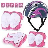 MOVTOTOP Kids Protective Gear Set, Kids Bike Helmet for 3-8 Years, Toddler Helmet Knee Elbow Wrist Pads for Roller Bicycle Bike Skateboard& Extreme Sports Pink